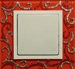 Изображение Выключатель 1кл оранжевое стекло в кристаллах Swarowski