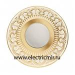 Изображение FD1019ROPOP Светильник точечный из латуни IP44, матовое стекло золото с белой патиной FEDE