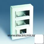 Изображение 27864-35 Коробка с накладкой наружного монтажа на 4 узких или 8 широких и 1 автоматический выключатель белая Simon