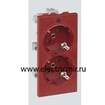 Изображение S1-6 Розетка двойная 2к+з Schuko красная, CIMA-модуль 52х108, 16А, 250В52x108 мм