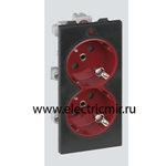 Изображение S1-6-14 Розетка двойная 2к+з Schuko черная/красная, CIMA-модуль 52х108, 16А, 250В52x108 мм Simon