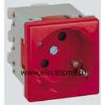 Изображение K11-6 Розетка 2к+з Schuko, 45х45мм, быстрое соединение, красная Simon