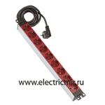 Изображение F1106-6 Электроблок с 6 розетками 2к+з Schuko, красный, кабель 2м Simon