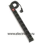 Изображение F1116-14 Электроблок с 6 розетками 2к+з Schuko и выключателем, кабель 2м Simon