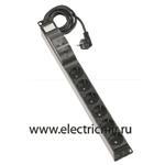 Изображение F1126-14 Электроблок с 6 розетками 2к+з Schuko + 2-полюсный автомат 10А, кабель 2м Simon