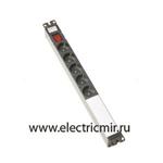 Изображение F1016-14 Электроблок с 6 розетками 2к+з Schuko и выключателем, Simon