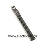 Изображение F1026-14 Электроблок с 6 розетками 2к+з Schuko + 2-полюсной автомат 10А, Simon