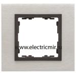 Изображение 82817-31 Рамка на 1 пост сталь матовая-графит (металл) Simon