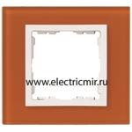 Изображение 82617-65 Рамка на 1 пост оранжевый-белый (стекло) Simon