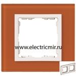 Изображение 82627-65 Рамка на 2 поста оранжевый-белый (стекло) Simon