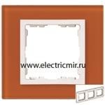 Изображение 82637-65 Рамка на 3 поста оранжевый-белый (стекло) Simon