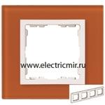 Изображение 82647-65 Рамка на 4 поста оранжевый-белый (стекло) Simon