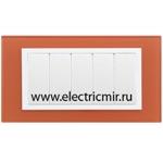 Изображение 82657-65 Рамка с суппортом на 5 узких модулей, оранжевый - белый (стекло) Simon