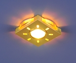 Изображение Встраиваемый светильник со светодиодами 1051 золото / желтая подсветка (GD/YL/Led)