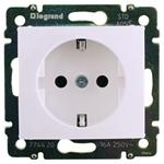 Изображение Розетка 1-ая с/з автоматические клеммы- защитные шторки (774222) белая Valena