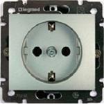 Изображение Розетка 1-ая с/з автоматические клеммы- защитные шторки (770211) алюминий Valena