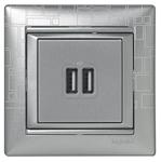 Изображение 2ая розетка USB (770270) алюминий Valena