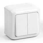 Изображение 782302 Выключатель двухклавишный IP44 10A Белый Quteo