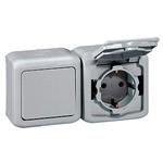 Изображение 782348 Выключатель +2К+З розетка со шторками IP44 16A Серый Quteo