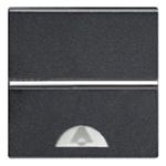Изображение ABB NIE Zenit Антрацит Выключатель 1-клавишный кнопочный НО-контакт с символом Звонок 2 мод