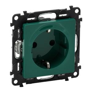 Изображение Valena LIFE.Силовая розетка 2К+З 16А 250В с защитными шторками.Безвинтовые зажимы.С лицевой панелью.Зеленая.