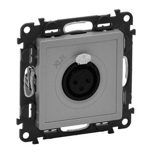 Изображение Valena LIFE.Аудиорозетка с 3-контактным гнездом XLR.С лицевой панелью.Алюминий