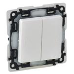 Изображение Valena LIFE IP44.Выключатель двухклавишный 10А 250В IP44 с лицевой панелью.Безвинтовые зажимы.Белый