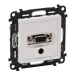 Изображение Valena LIFE.Розетка для аудио/видео устройств с разьемами HD15/гнездо Jack 3,5мм.С лицевой панелью.Белая