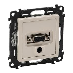Изображение Valena LIFE.Розетка для аудио/видео устройств с разьемами HD15/гнездо Jack 3,5мм.С лицевой панелью.Слоновая кость