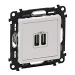 Изображение Valena LIFE.Зарядное устройство с двумя USB-разьемами 240В/5В 1500мА.С лицевой панелью.Белое