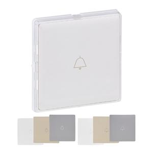 Изображение Valena LIFE.Лицевая панель для кнопочного выключателя с держателем маркировки,с подсветкой.Прозрачная,с 3 вставками (белая,сл.кость,алюминий) в комплекте
