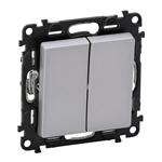Изображение Valena LIFE.Выключатель двухклавишный 10А 250В с лицевой панелью.Безвинтовые зажимы.Алюминий