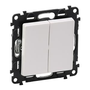 Изображение Valena LIFE.Выключатель двухклавишный 10А 250В с лицевой панелью.Безвинтовые зажимы.Белый