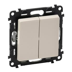 Изображение Valena LIFE.Выключатель двухклавишный 10А 250В с лицевой панелью.Безвинтовые зажимы.Слоновая кость