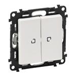 Изображение Valena LIFE.Выключатель двухклавишный 10АХ 250В с подсветкой.С лицевой панелью.Белый