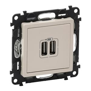 Изображение Valena LIFE.Зарядное устройство с двумя USB-разьемами 240В/5В 1500мА.С лицевой панелью.Слоновая кость