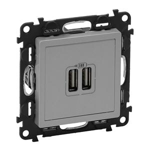 Изображение Valena LIFE.Зарядное устройство с двумя USB-разьемами 240В/5В 1500мА.С лицевой панелью.Алюминий