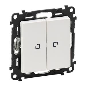 Изображение Valena LIFE.Переключатель двухклавишный 10АХ 250В с подсветкой.С лицевой панелью.Белый
