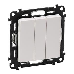 Изображение Valena LIFE.Выключатель трехклавишный 10АХ 250В с лицевой панелью.Винтовые зажимы.Белый