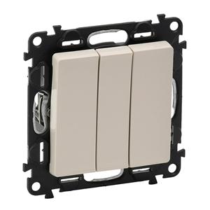 Изображение Valena LIFE.Выключатель трехклавишный 10АХ 250В с лицевой панелью.Винтовые зажимы.Слоновая кость