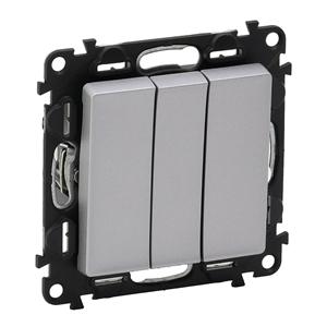 Изображение Valena LIFE.Выключатель трехклавишный 10АХ 250В с лицевой панелью.Винтовые зажимы.Алюминий