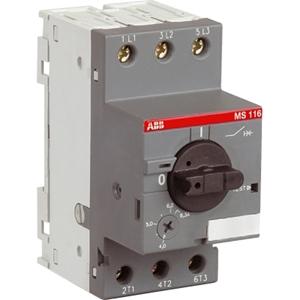 Изображение MS116-1.6 50kA Автоматический выключатель с регулир. тепловой защитой 1А-1.6А 50kA ABB