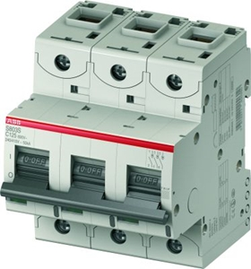 Изображение ABB S803C Автоматический выключатель 3P 16A (С) 25кА (4.5 мод.)