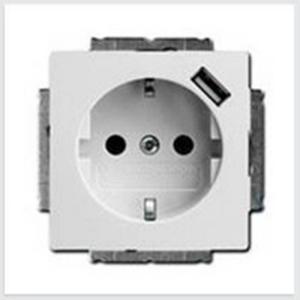 Изображение ABB BJB Basic 55 Бел Розетка Schuko 20 EUCBUSB-94-500, 16А, 700мА с устр.заряд.USB