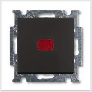 Изображение ABB BJB Basic 55 Шато (чёрн) Переключатель 1-клавишный с подсветкой и N-клеммой