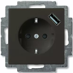 Изображение ABB BJB Basic 55 Шато (чёрн) Розетка Schuko с USB 16А, 700 мА безвинтовые клеммы