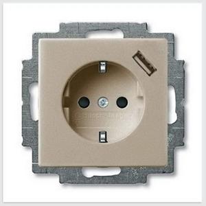 Изображение ABB BJB Basic 55 Шамп Розетка Schuko 20 EUCBUSB-93-500, 16А, 700мА,с устр.заряд. USB