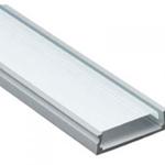 Изображение Профиль накладной алюминиевый 2м с матовым экраном 2 заглушки 4 крепежа для светодиодных лент CAB263 Feron