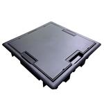 """Изображение 83008 C Напольный люк 8 розеток (45х45мм) """" Внешние размеры (мм): 256 x 256., Фиксаторы в комплекте, Серый"""