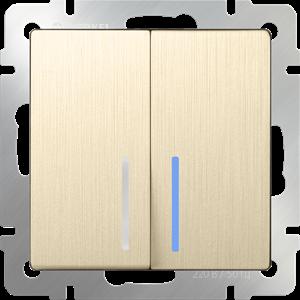 Изображение Выключатель двухклавишный с подсветкой (шампань рифленый)